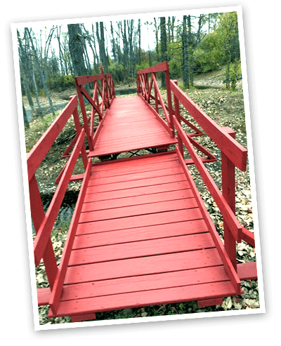 Photo of the red bridge that our company is named after