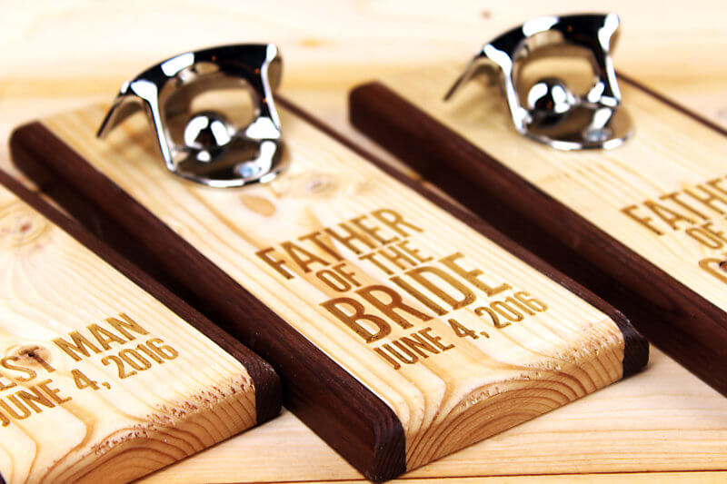Magnetic Bottle opener engraved with Father of the Bride for a wedding