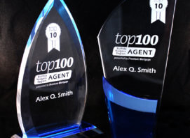 Tear drop with blue base award next to modern blade style with blue front award.