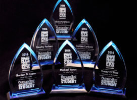 Six tear drop style engraved awards for outstanding accounting students in Rochester NY