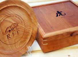 Engraved custom hand made cherry box and platter for RIT in Rochester NY