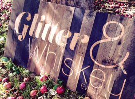 Reclaimed pallet wood sign for Glitter and Whiskey Events