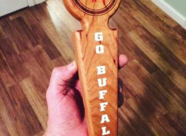 Beer tap handle made from Maple and engraved with Buffalo