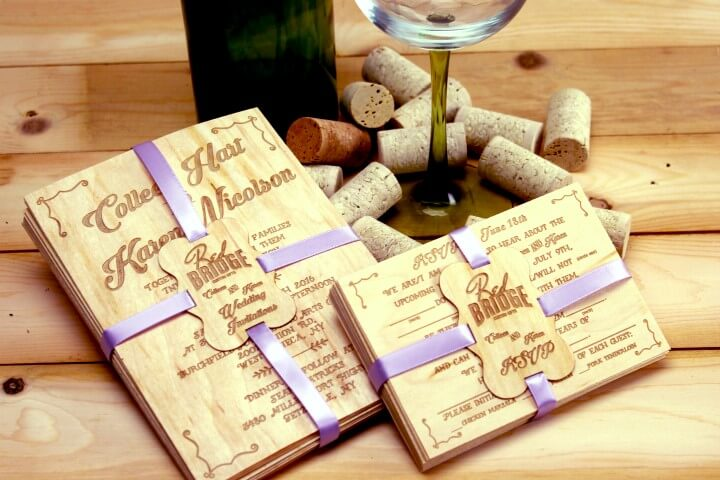 Real Wood Wedding Invitations: Red Bridge Engraving And Gifts