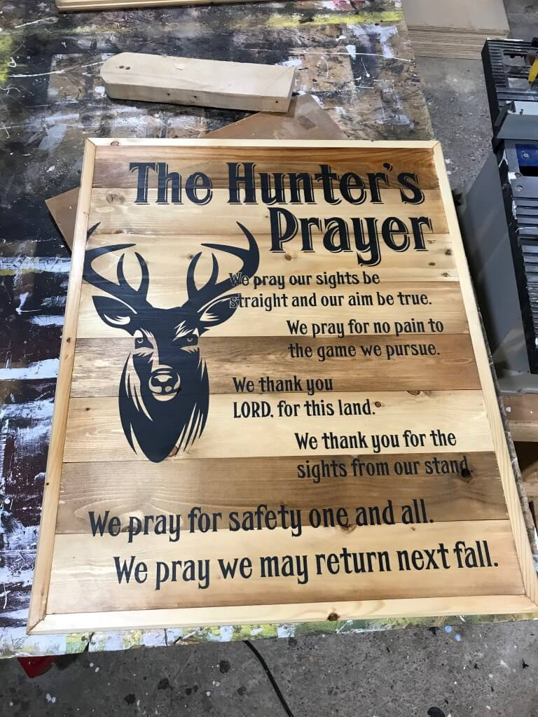The Hunter S Prayer Sign Red Bridge Engraving And Gifts